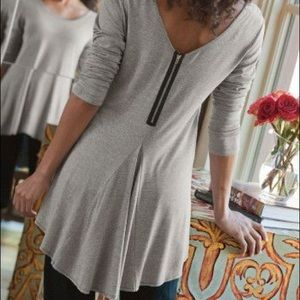 Soft Surroundings Gray Zip Up Long Sleeve Top